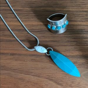 Lia Sophia Turquoise Necklace with Free Ring